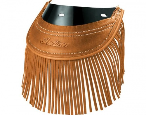 Indian Heritage Leather Rear Mud Flap With Fringe