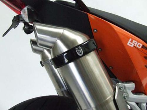 Oval Supermoto Style'' Exhaust Protector - Black''