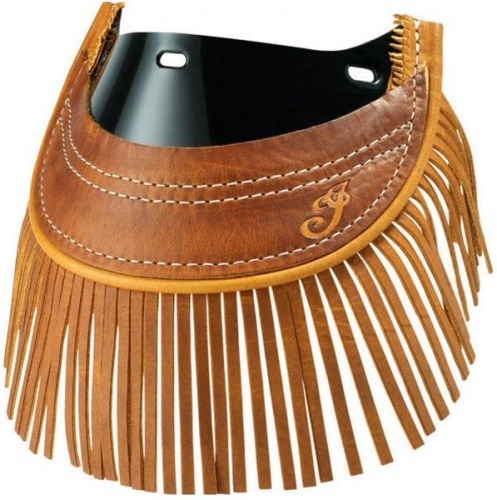 Indian Heritage Leather Front Mud Flap With Fringe