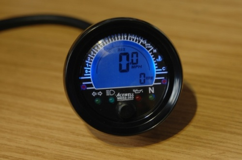 Acewell ACE-MD52-353 52mm Round Speedometer with Tachometer & Temperature