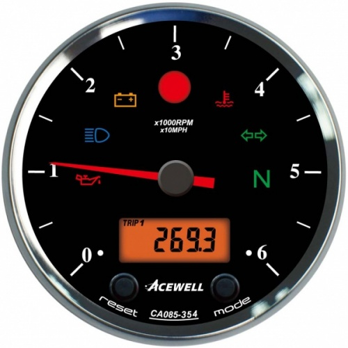 Acewell ACE-CA85 Classic Face 85mm Diameter Classic Style Analogue Gauge with Digital Panel