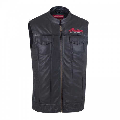 Indian Mens Outsider Black Leather Vest