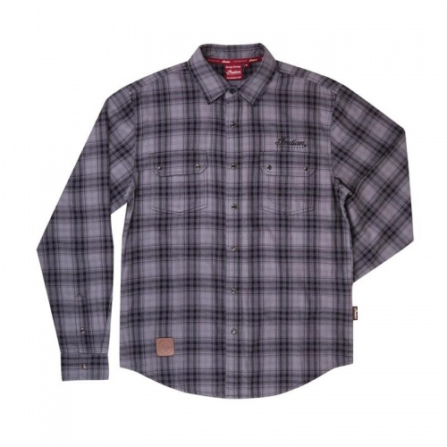 Indian Motorcycle Men's Grey and Black Plaid Shirt