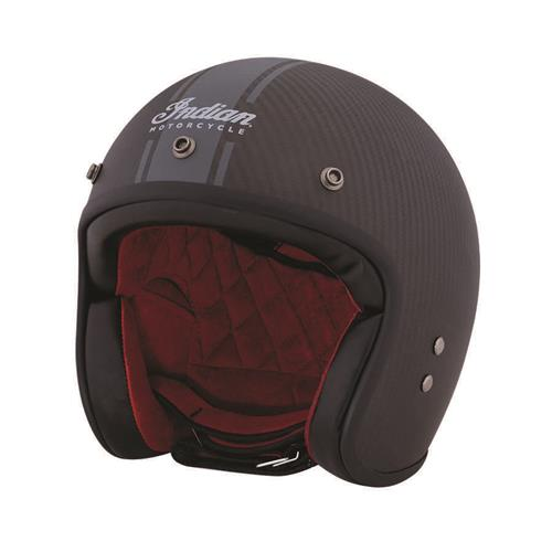 Indian Motorcycle Open Face Carbon Fibre Retro Helmet with Stripes