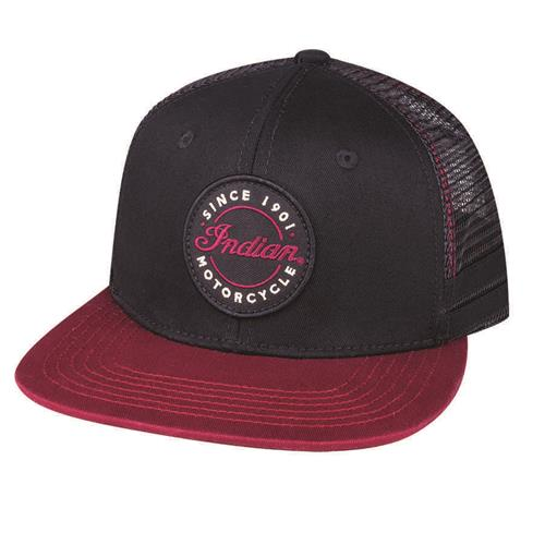 Indian Motorcycle Flatbill Logo Trucker Hat Black/Red