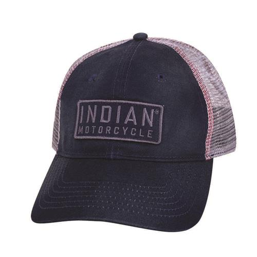 Indian Motorcycle Block Patch Trucker Hat Navy