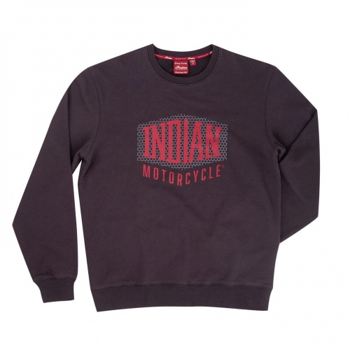 Indian Motorcycle Mens Pull-Over Sweatshirt with Shield Logo Grey