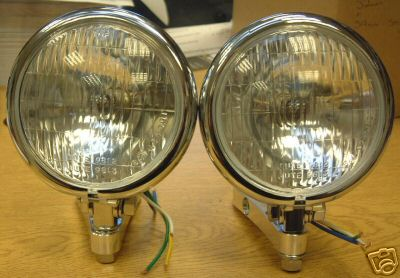 Bates Headlights With Clamps - Pair