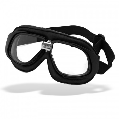 Bandit Classic Motorcycle Googles - Black with Clear Lens