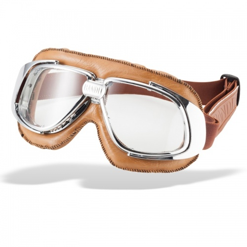 Bandit Classic Motorcycle Googles - Brown with Clear Lens