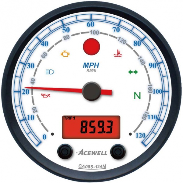 Acewell ACE-CA85 White Face 85mm Diameter Analogue Gauge with White Face & Digital Panel