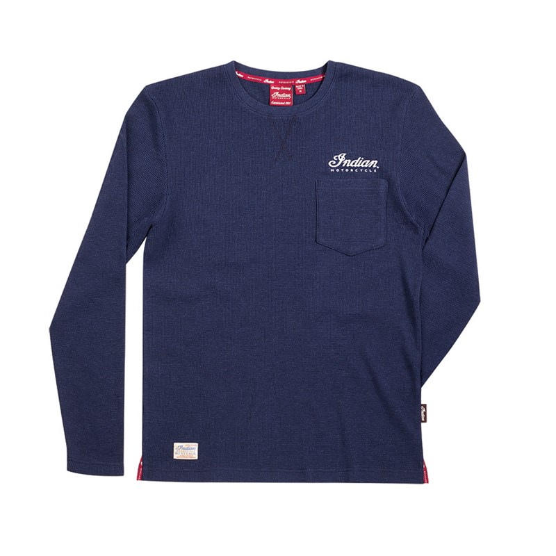 Indian Men's Long-Sleeve Waffle T-Shirt Navy
