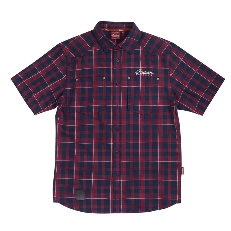 Indian Motorcycle Red Plaid Short Sleeve Shirt