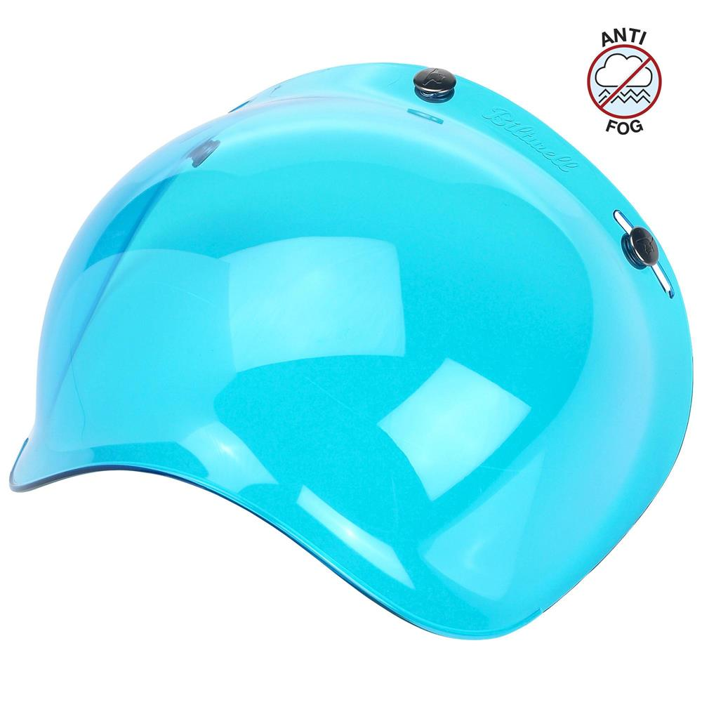 Biltwell Open Face Motorcycle Helmet Bubble Shield Visor Anti-Fog - Blue