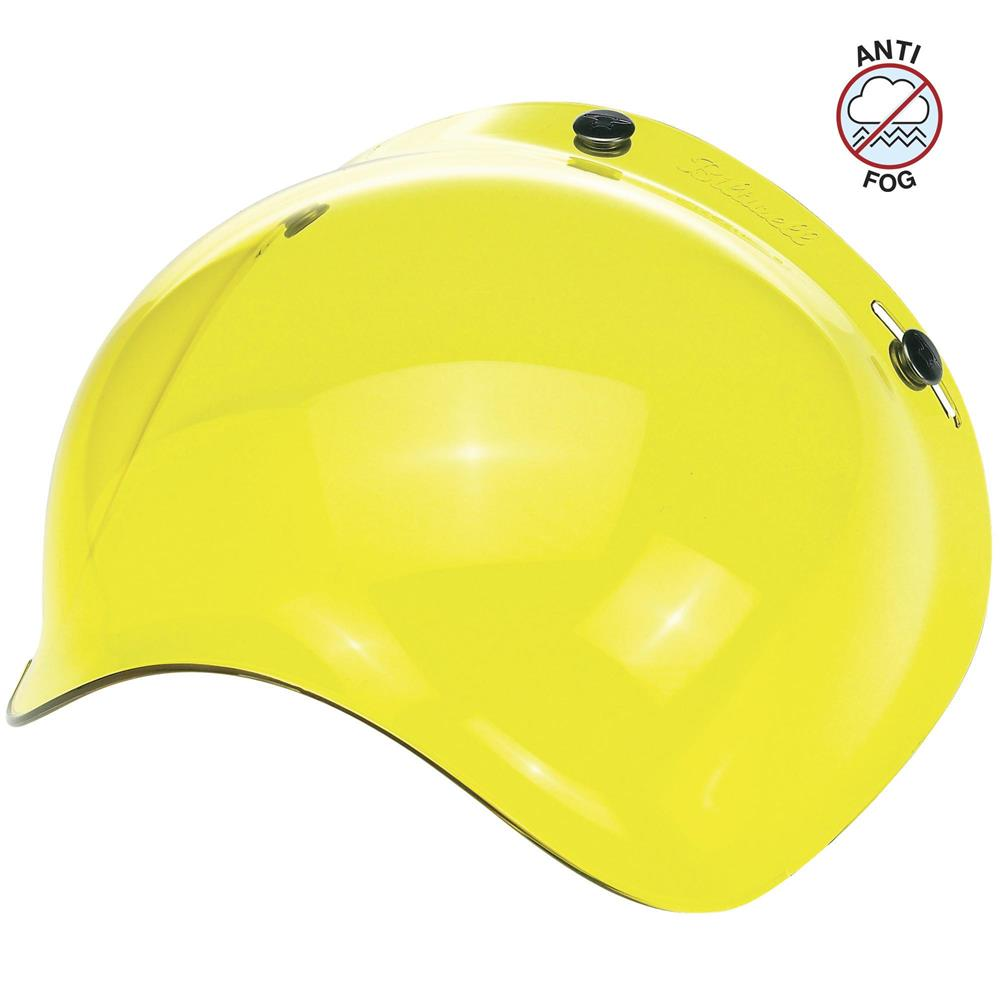 Biltwell Open Face Motorcycle Helmet Bubble Shield Visor Anti-Fog - Yellow