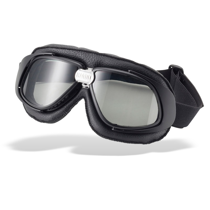 Bandit Classic Motorcycle Googles - Black with Smoked Lens