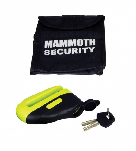Mammoth Security Motorcycle Blast Disc Lock 10mm Pin in Yellow