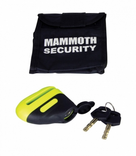 Mammoth Security Motorcycle Blast Disc Lock 6mm Pin in Yellow