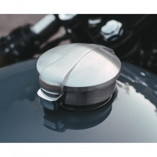 Monza Flip Lid Fuel Tank Billet Brushed Finish Cap For Triumph and Harley Davidson by Motone