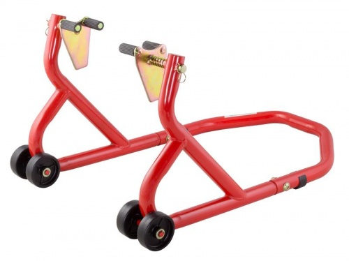 BikeTek Front Paddock Stand with Under Fork Adapters Red