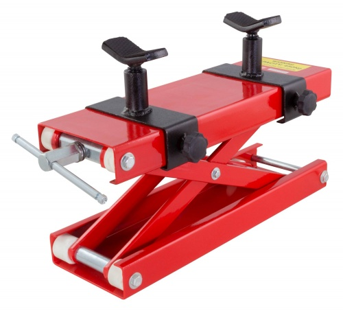 BikeTek Premium Motorcycle Scissor Lift Jack Red