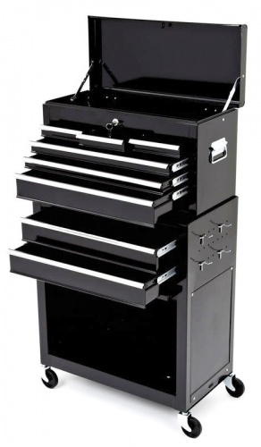 BikeTek Black Rolling Tool Cabinet With Top Chest