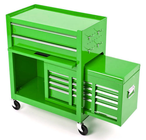 BikeTek Green Rolling Tool Cabinet With Top Chest