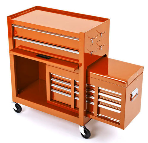 BikeTek Orange Rolling Tool Cabinet With Top Chest